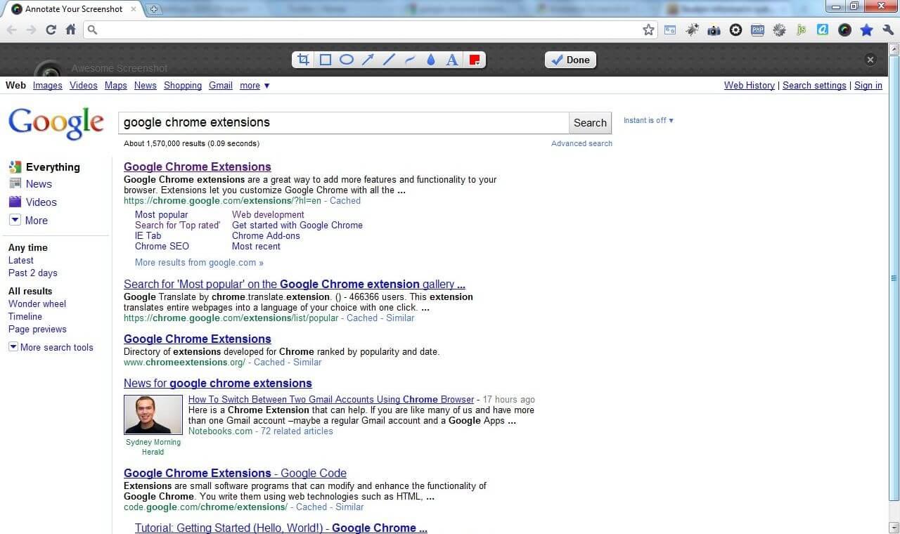 Editor zachycených snímků stránek