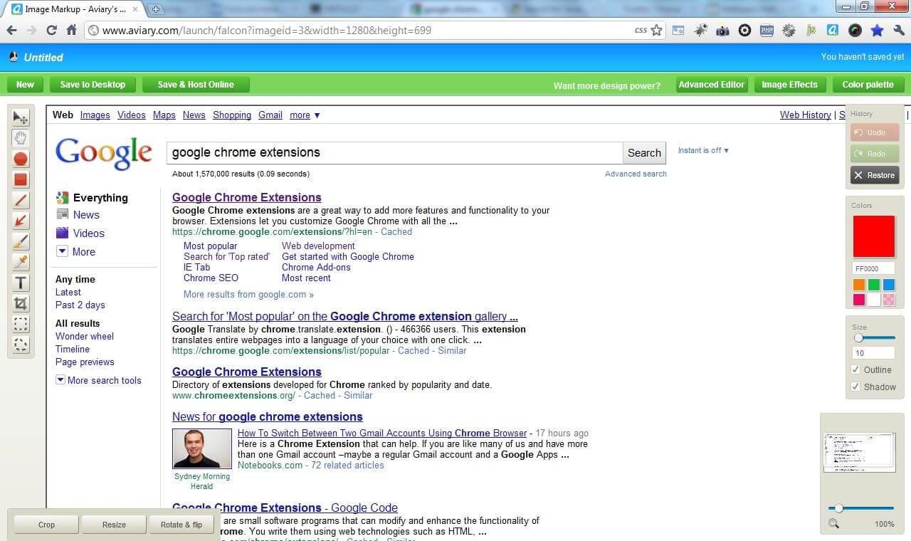 Základní editor zachycených snímků stránky