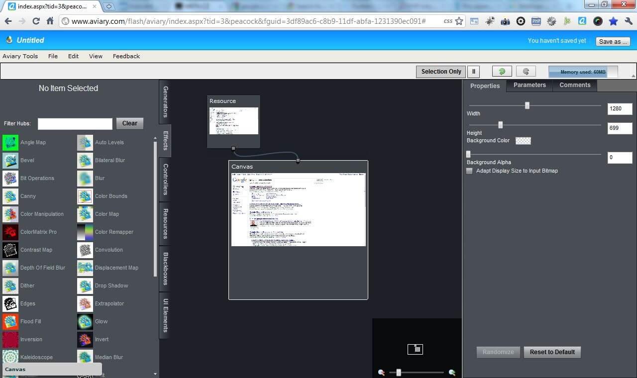 Možnost přidat efekty na zachycený snímek stránky