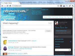 Upravená podoba Twitter.com
