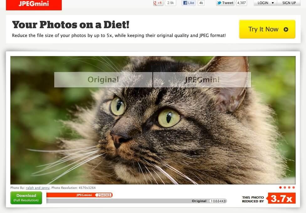 JPEGmini nabízí možnost srovnání původní a upravené fotografie.