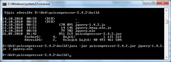 YUI Compressor je možné používat v příkazové řádce Windows