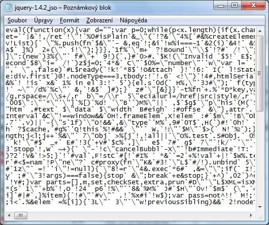 Obfuskovaná produkční verze souboru jQuery 1.4.2