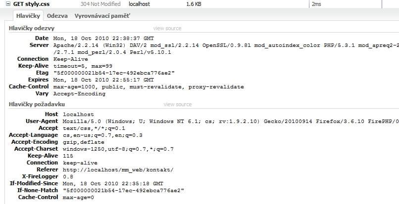 HTTP hlavička požadavku na soubor styly.css