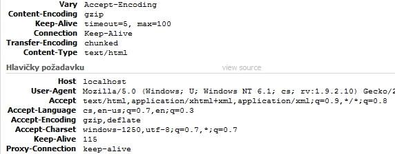 Hlavička požadavku od prohlížeče anásledná odpověď serveru – data jsou odesílána vkomprimované podobě