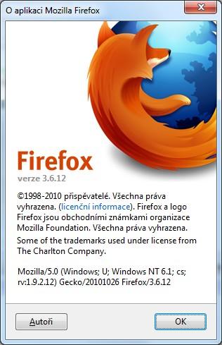 Mozilla Firefox 3.6.12 – pomalu umírající prohlížeč.
