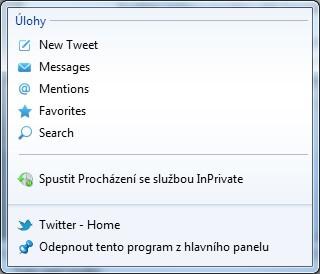 Připnutý Twitter na hlavní panel Windows