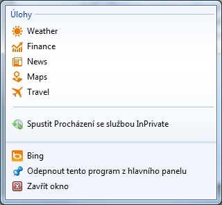 Připnutý Bing na hlavní panel Windows