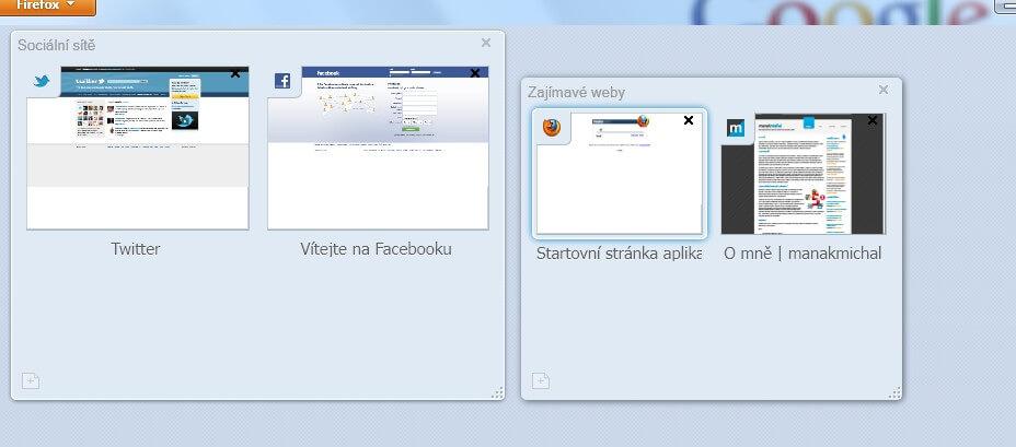 Nový systém správy panelů prohlížeč Mozilla Firefox 4 nazvaný Panorama.