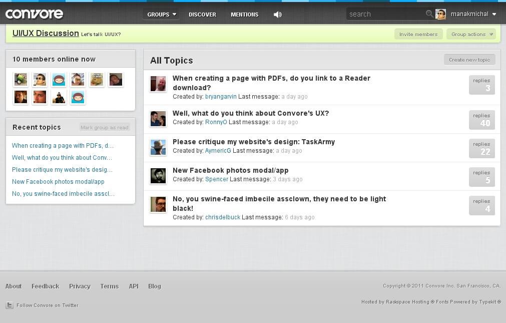 Služba Convore má hezký design, možnost kategorizovat odpovědi, avšak poněkud atypické uživatelské rozhraní.