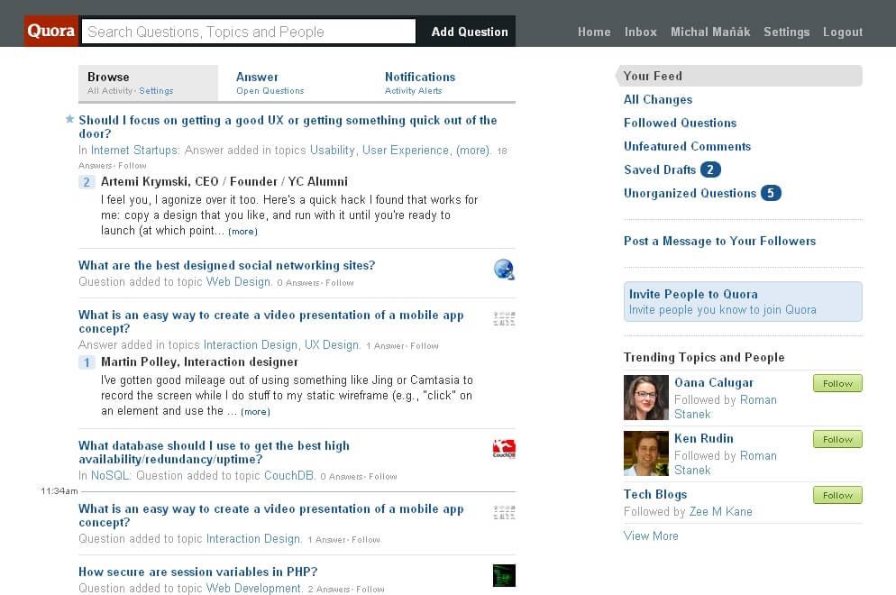 Služba Quora.com má ve světě velký ohlas, má už poměrně rozsáhlou komunitu.