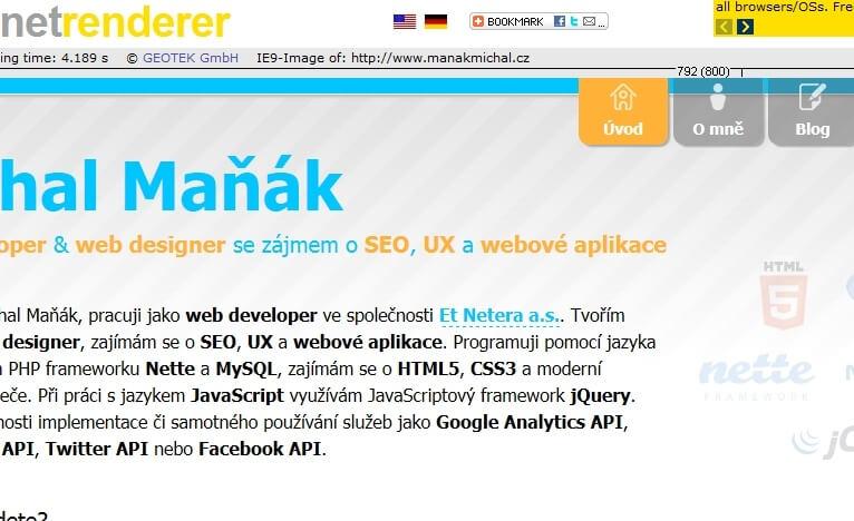 Má stránka vykreslená v Internet Explorer 9 pomocí IE NetRenderer.