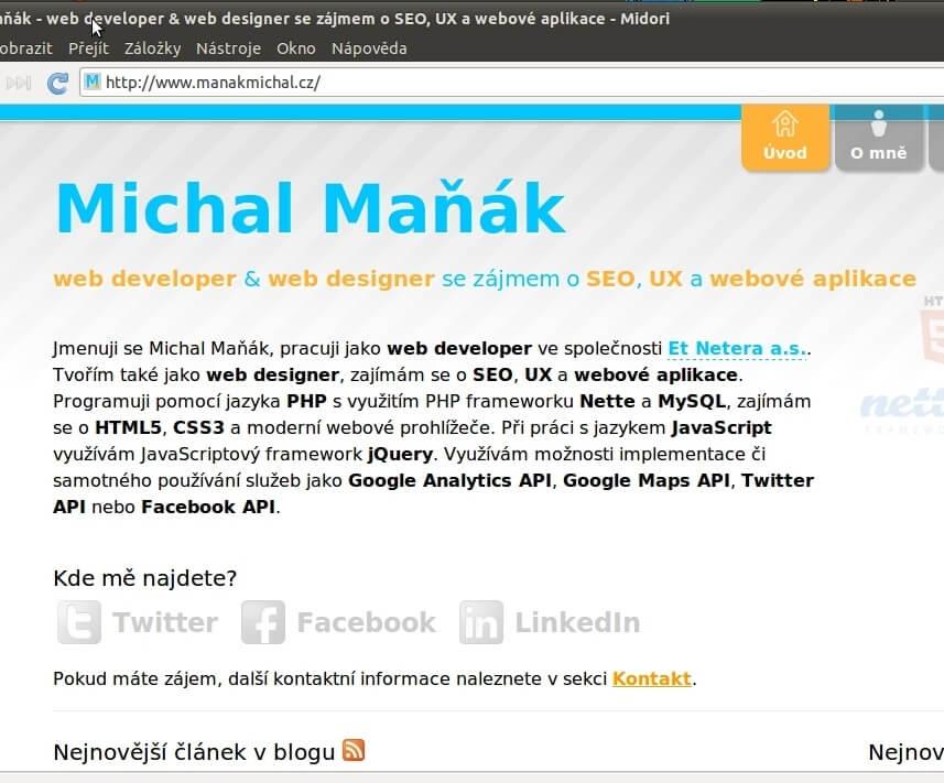 Má webová stránka v prohlížeči Midori operačního systému Ubuntu Linux.