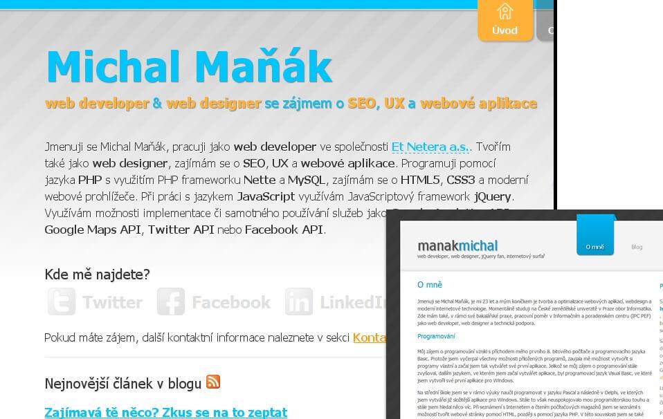 Srovnání nové a staré podoby webové stránky manakmichal.cz.