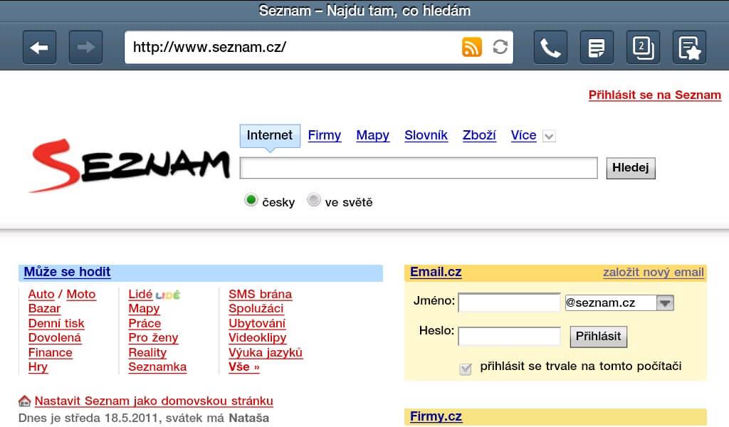 Browser for Android - nativní prohlížeč systému Android.