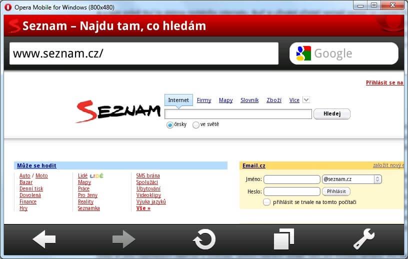 Opera Mobile for Windows - možnost testovat mobilní web ve Windows.