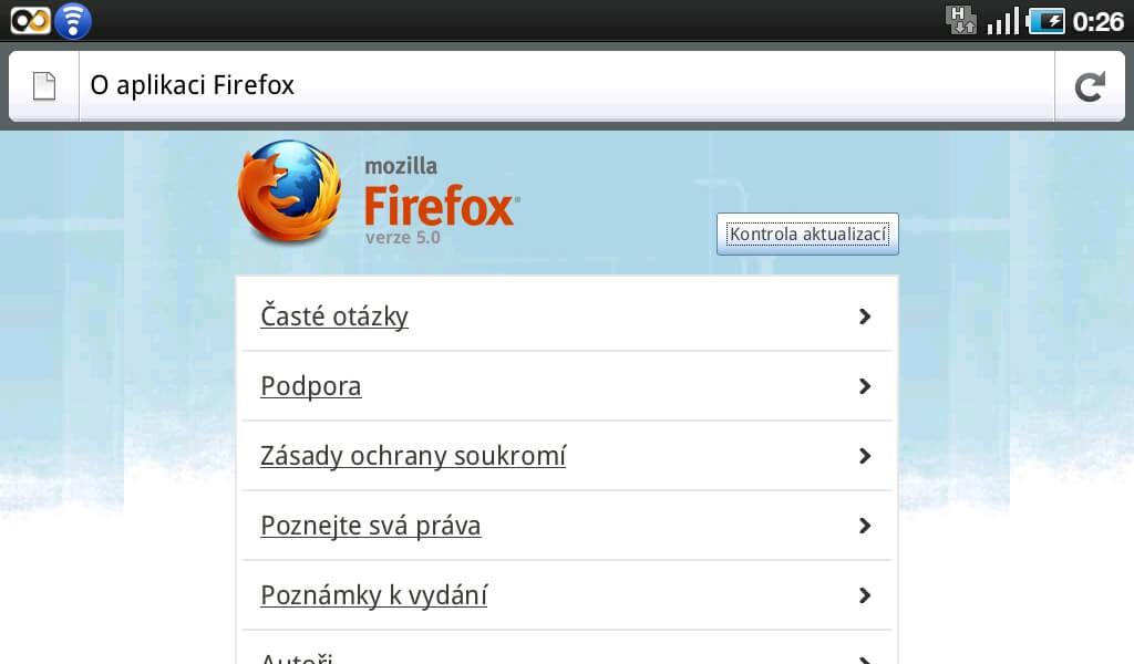 Hlavní okno prohlížeče Firefox for Andriod.