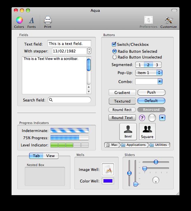 Vzhled prvků operačního systému Mac OS.