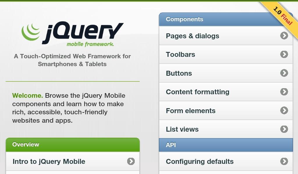 Aplikace s jQuery Mobile na tabletu.