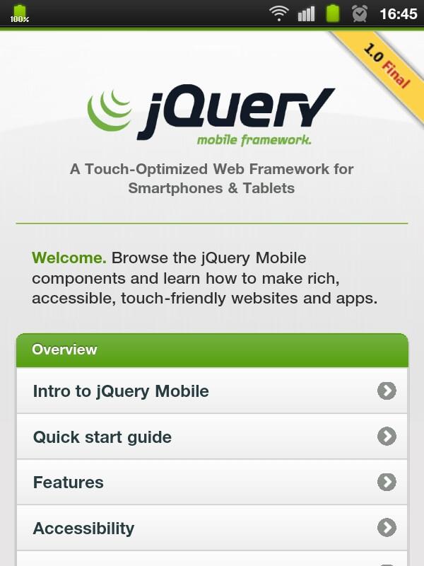 Aplikace s jQuery Mobile na chytrém telefonu.