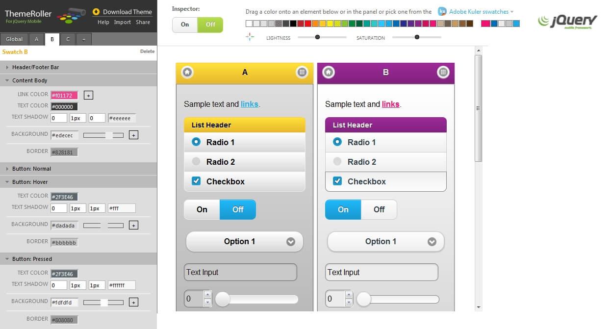 Jednotný vzhled ovládacích prvků a možnost vytváření vlastních stylů pomocí nástroje ThemeRoller.