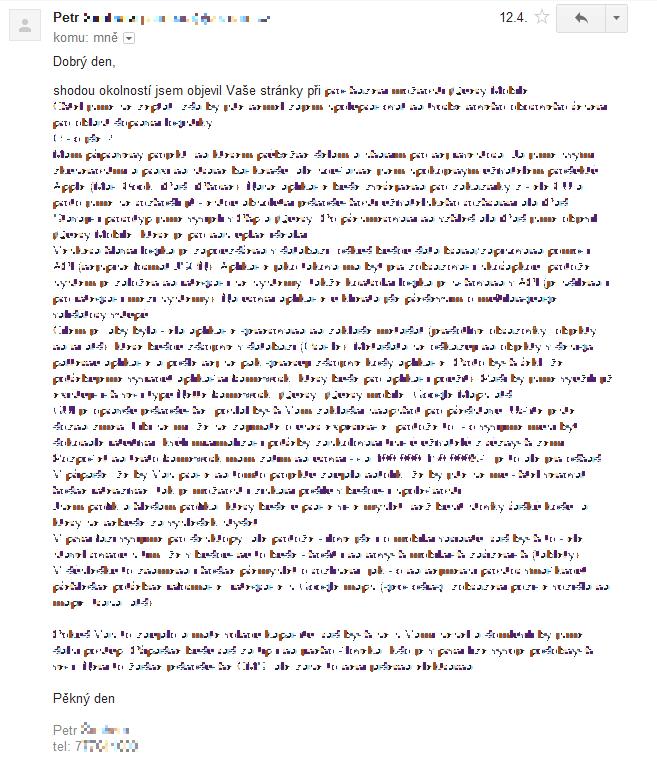 Jeden zemailů, který byl odeslán z kontaktního formuláře na mém webu.