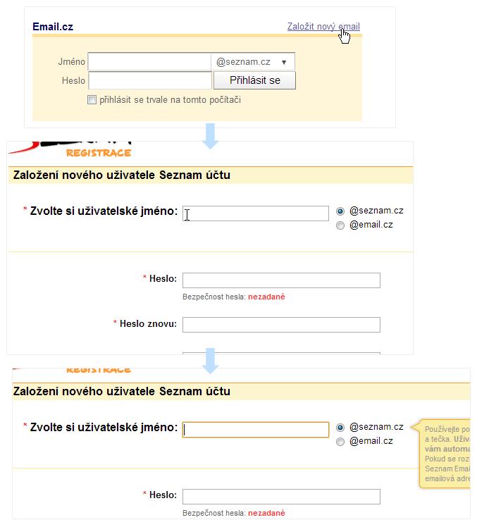 Pro začátek tvorby nového účtu na Seznam.cz potřebuji dvě kliknutí.