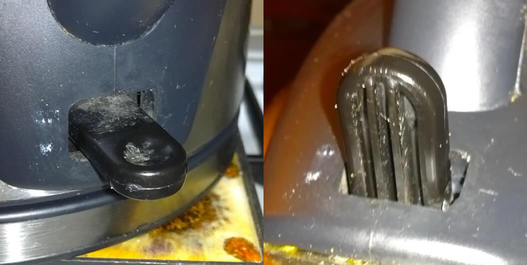 Takto vypadá páčka, kterou se konvice zapíná. Jak je na obrázku vidět, spínání je často používání.