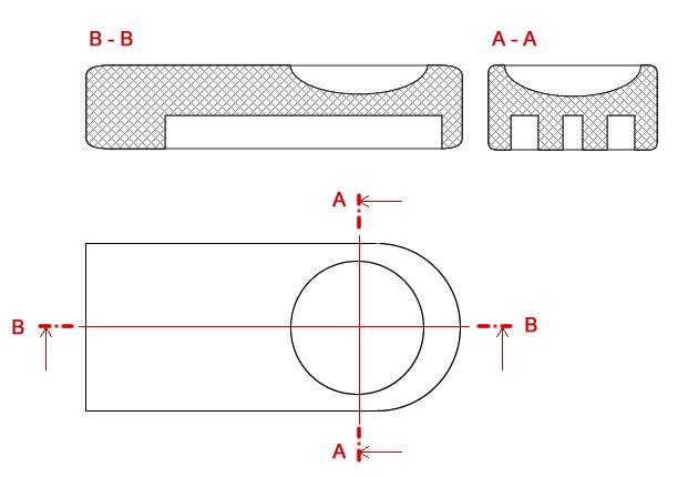 Náčrtek průřezů ovládací páčkou rychlovarné konvice.