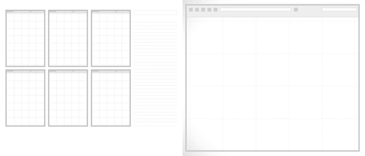 Příklady šablon pro skicování, tzv.6up a1up sketch templates.