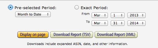 Výběr data pro zorazení výsledků vAmazon Associates