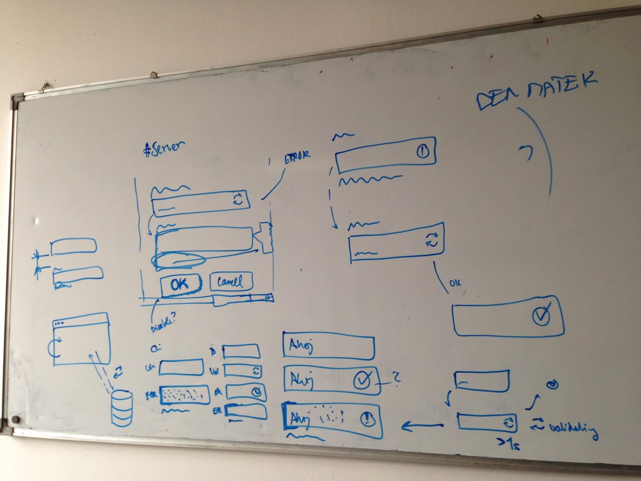 Nápady na fungování validací u formulářů jsem řešili například na whiteboard.