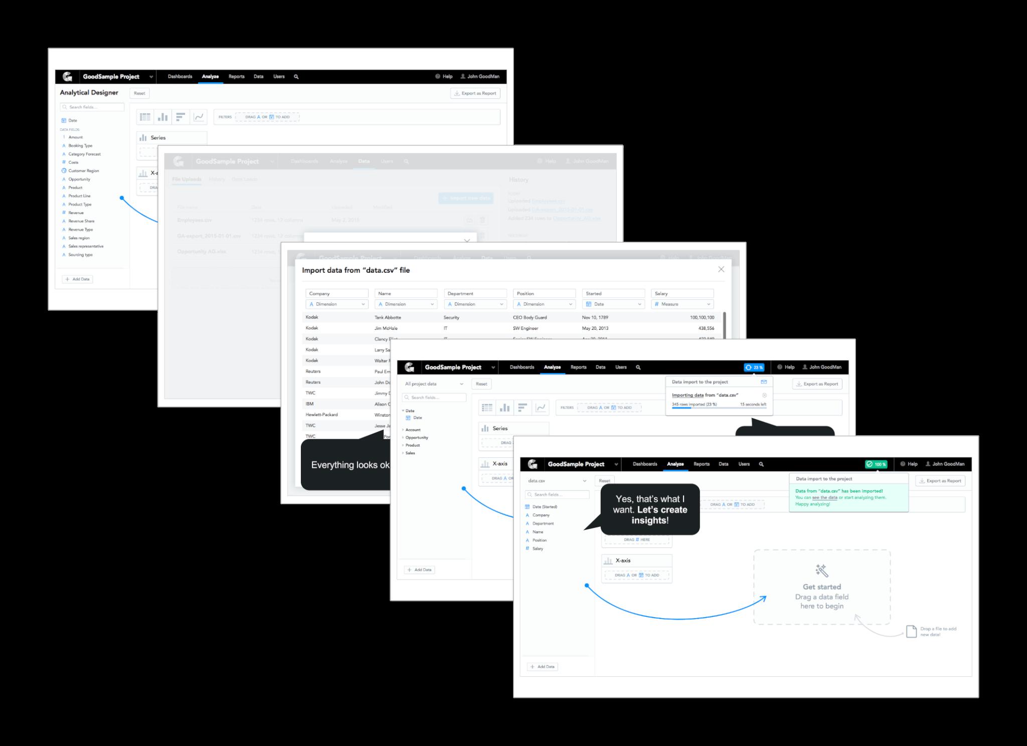 """Design ukazujeme jako konkrétní příběh – jak se daní lidé dostanou kpožadovanému cíli. Nekomentujeme prvky UI, ale danou cestu. Včetně komentářů přímo od lidí, se kterými jsme design """"procházeli""""."""