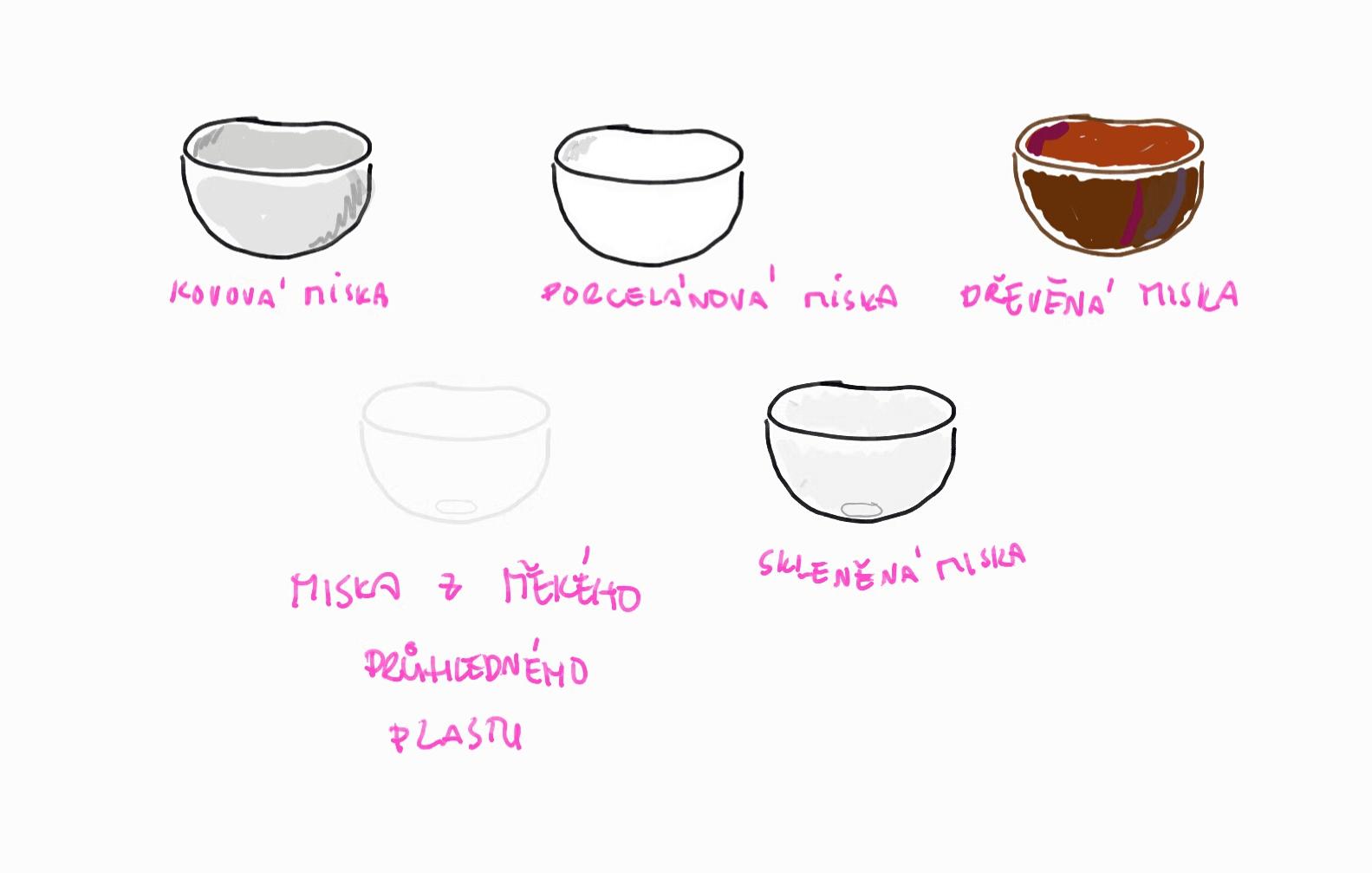 Různé zpracování misky, například použití různých materiálů.