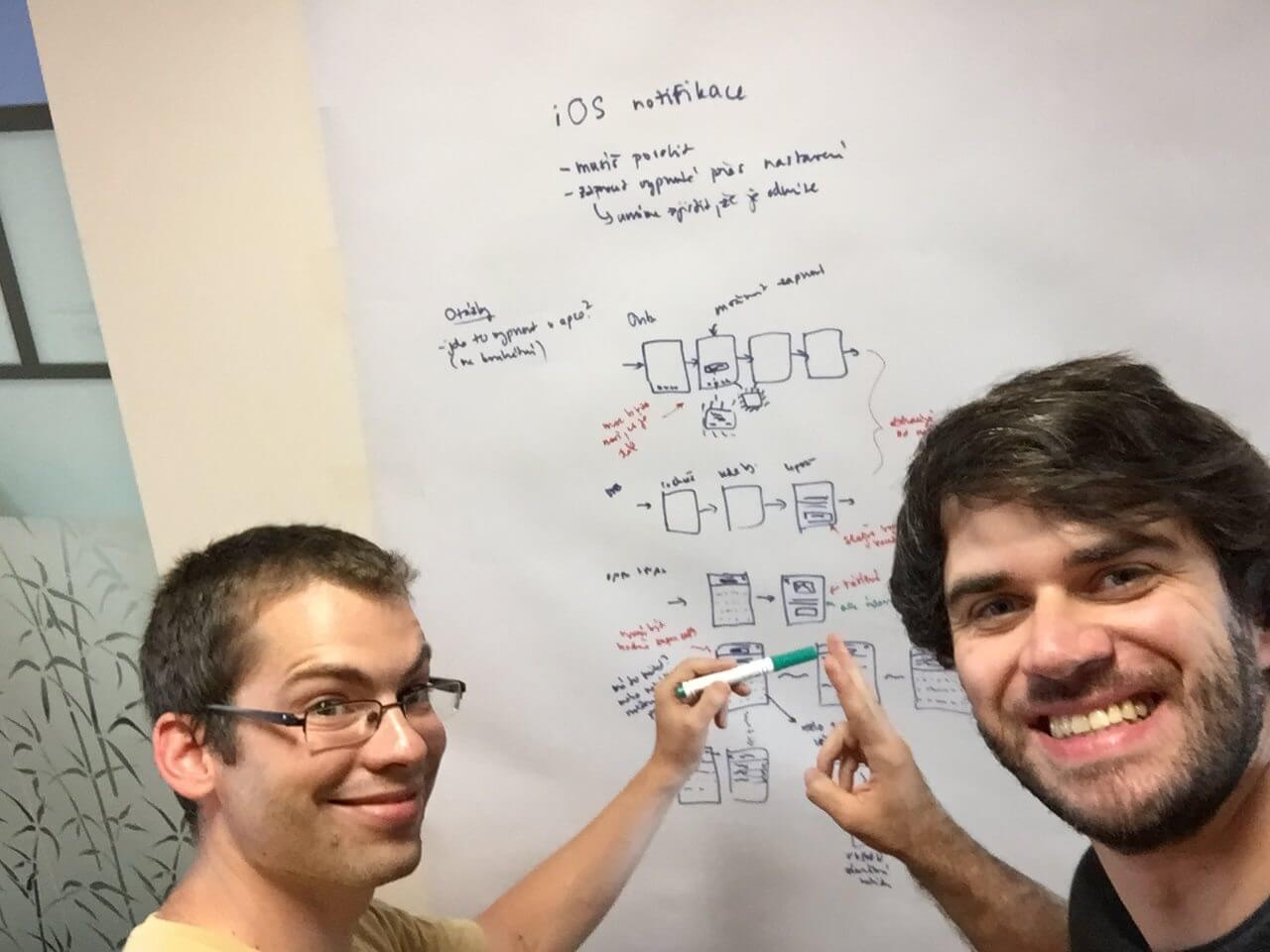 S Petrem Šolínem, vizuálním designérem, jsme společně rozmýšleli flow pro mobilní aplikaci.