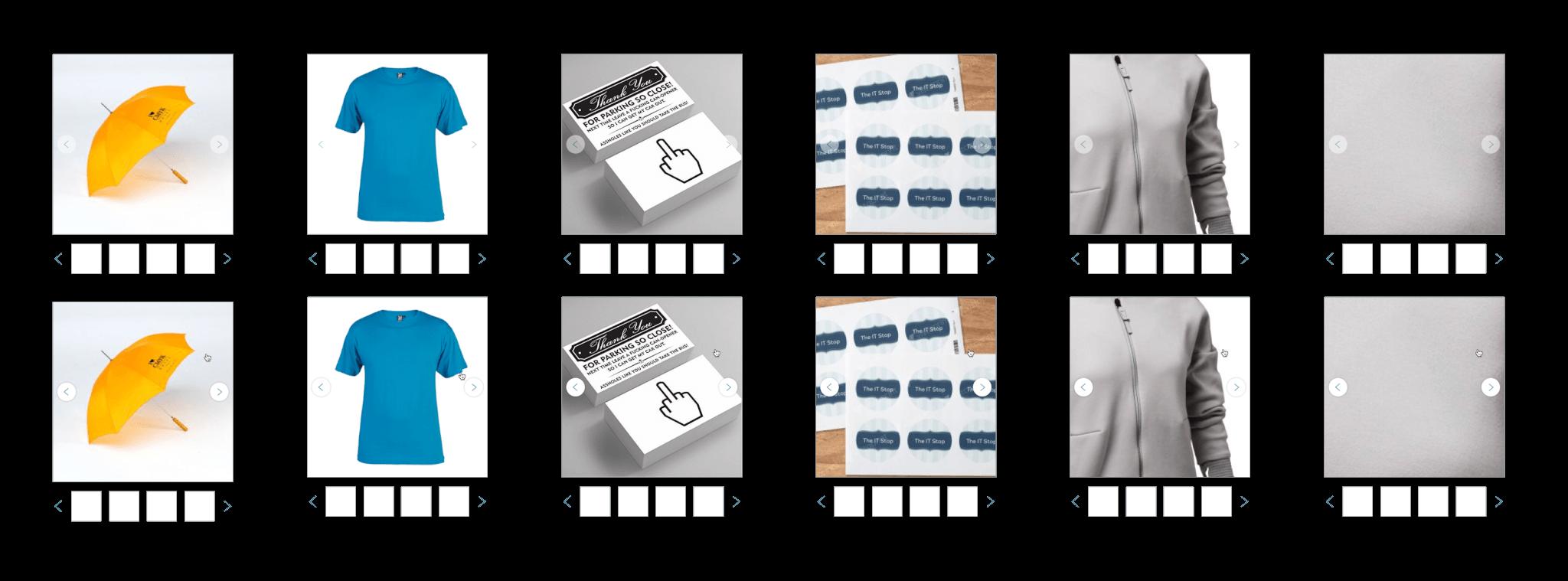 Příklady zobrazení fotek se zobrazenými šipkami v základním pohledu, šipky jsou pouze mírně upozaděné.