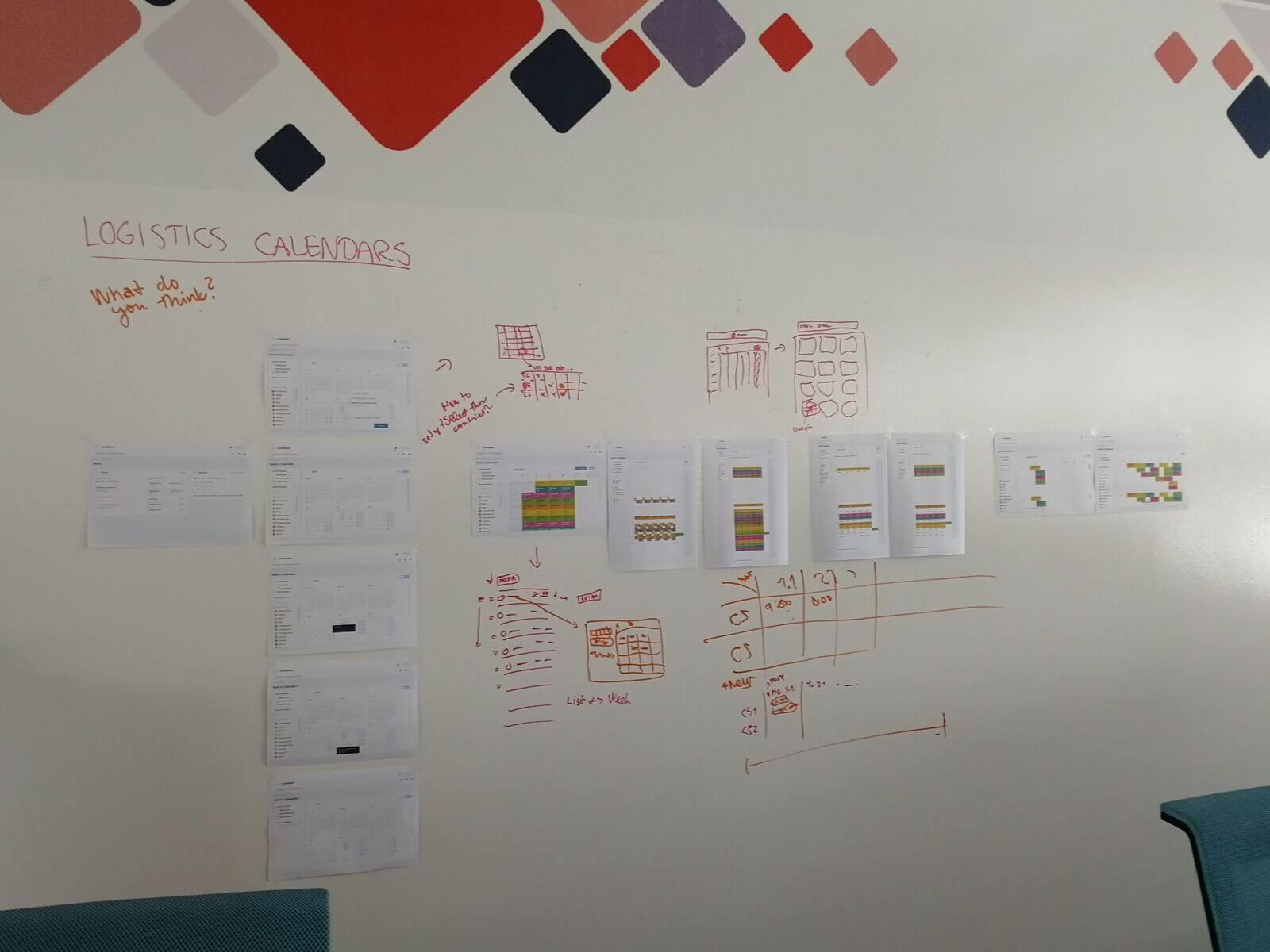 Na zdi jsem postupně začal vyvěšovat návrhy. Využili jsme to jako pracovní prostor, další kolegové se ale na návrhy přišli podívat a společně jsme je diskutovali.