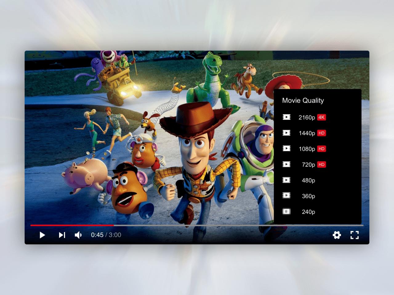 Jak by mohlo vypadat nastavení kvality přehrávaného videa.