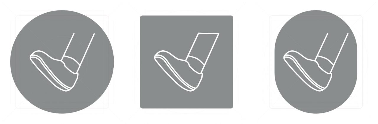Pro ikonu se symbolikou běhu/chůze jsem zvažoval různé tvary. Například elipsu, jako případný symbol pro běžecký ovál.