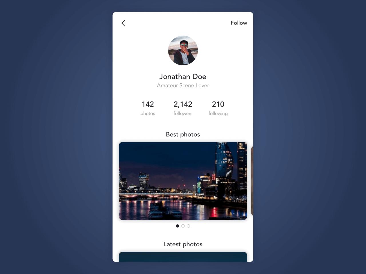 Jak by mohl vypadat profil uživatele v aplikaci pro sdílení fotografií.