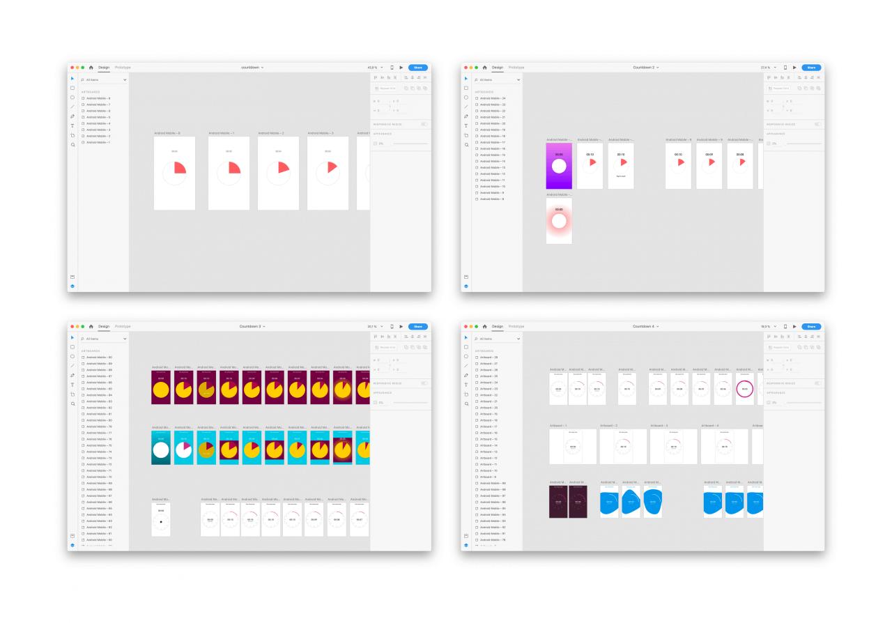 Jak jsem si v Adobe XD hrál s možnostmi auto-animate pro odpočítávadlo.