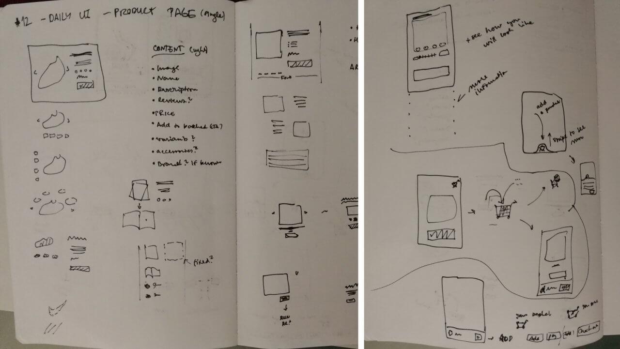 Různé nápady na řešení stránky detailu produktu na e-shopu.