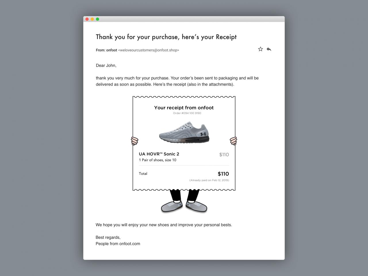 Jak by taková e-mailová účtenka mohla vypadat.