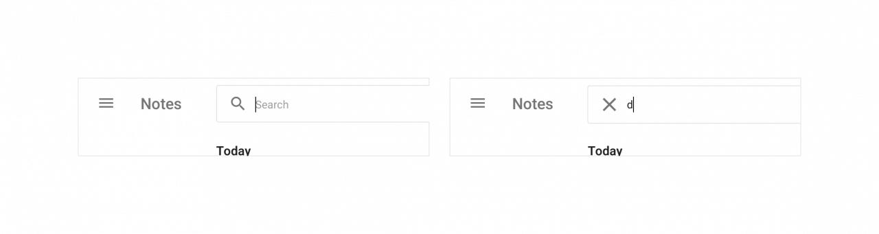 Umístění tlačítka pro vymazání hledané fráze.