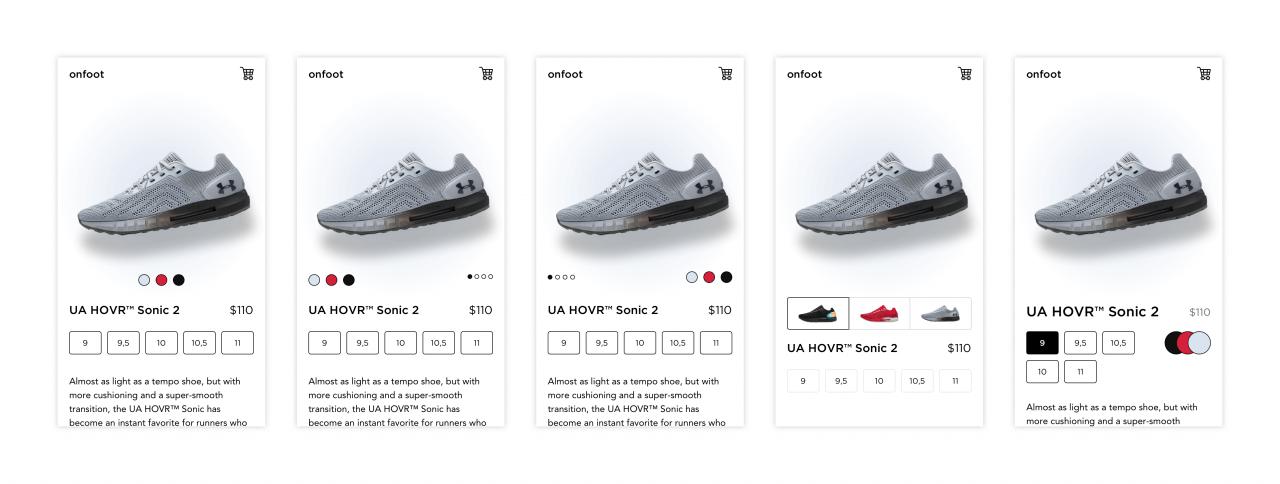 Možné varianty přepínače barevných variant produktu.