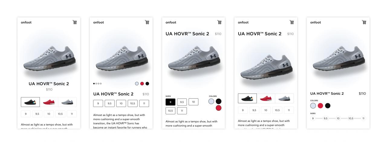 Různá rozložení obsahu na stránce detailu produktu.