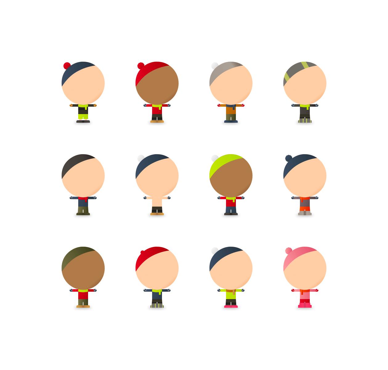 Různé barevné varianty panáčků.