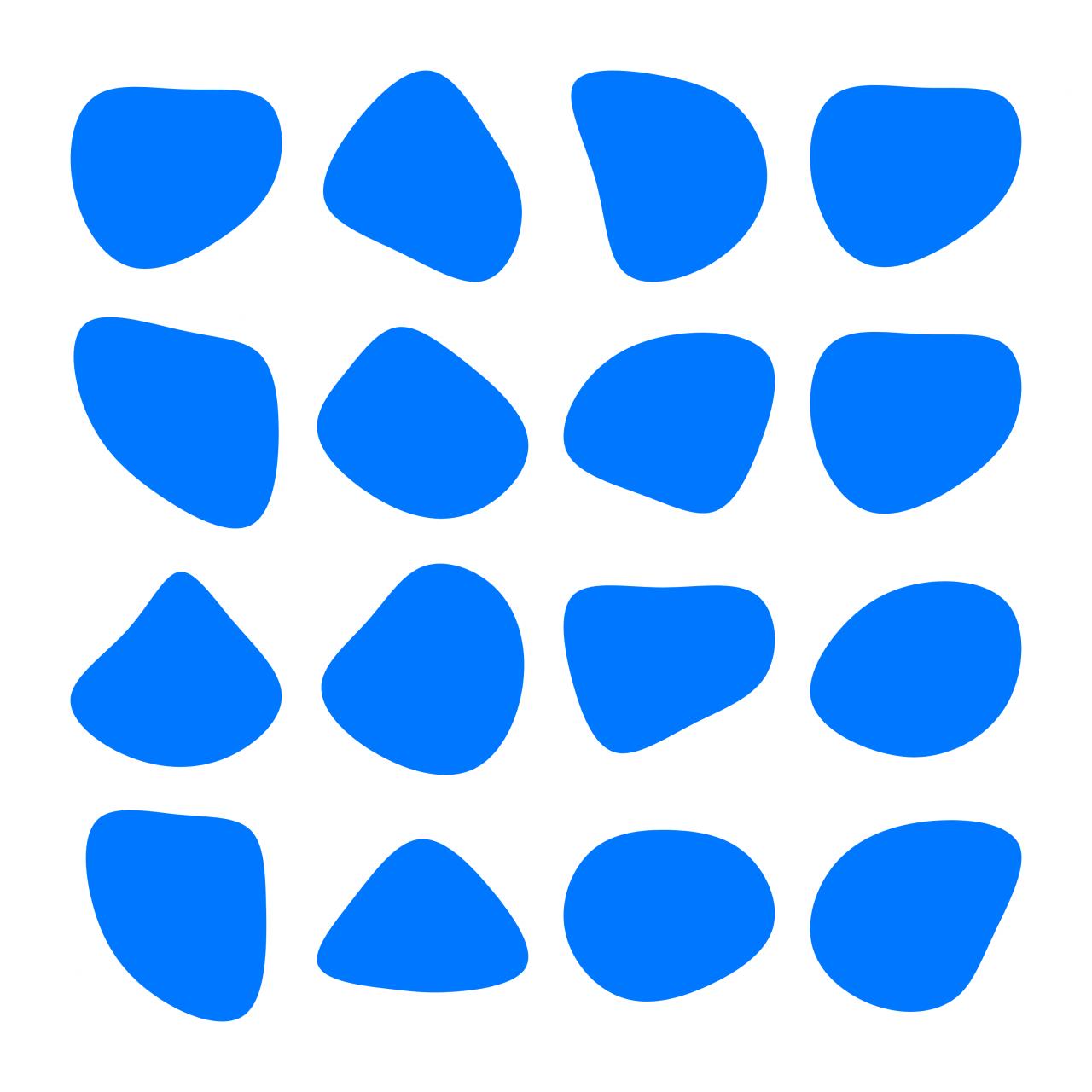 Různé tvary blobu, které jsem vygeneroval pomocí aplikace Blobmaker.
