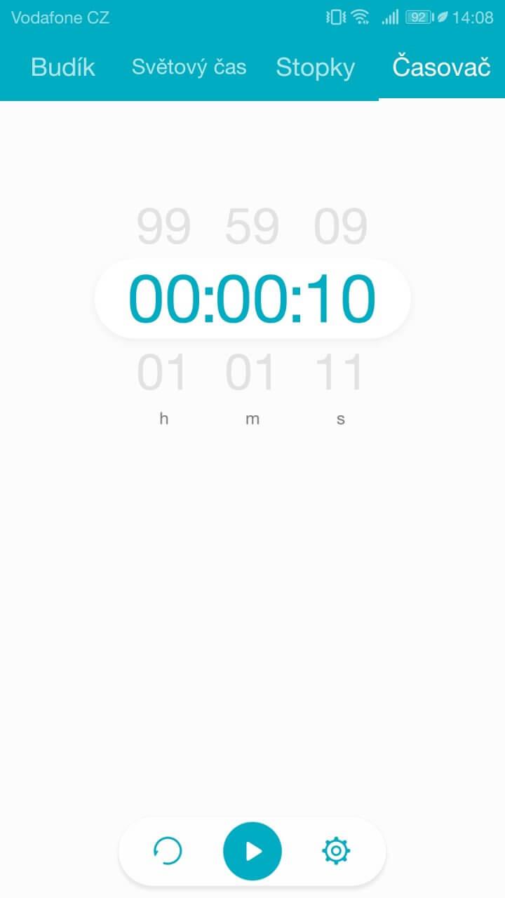 Jak vypadá odpočítávadlo (časovač), který mám v telefonu.