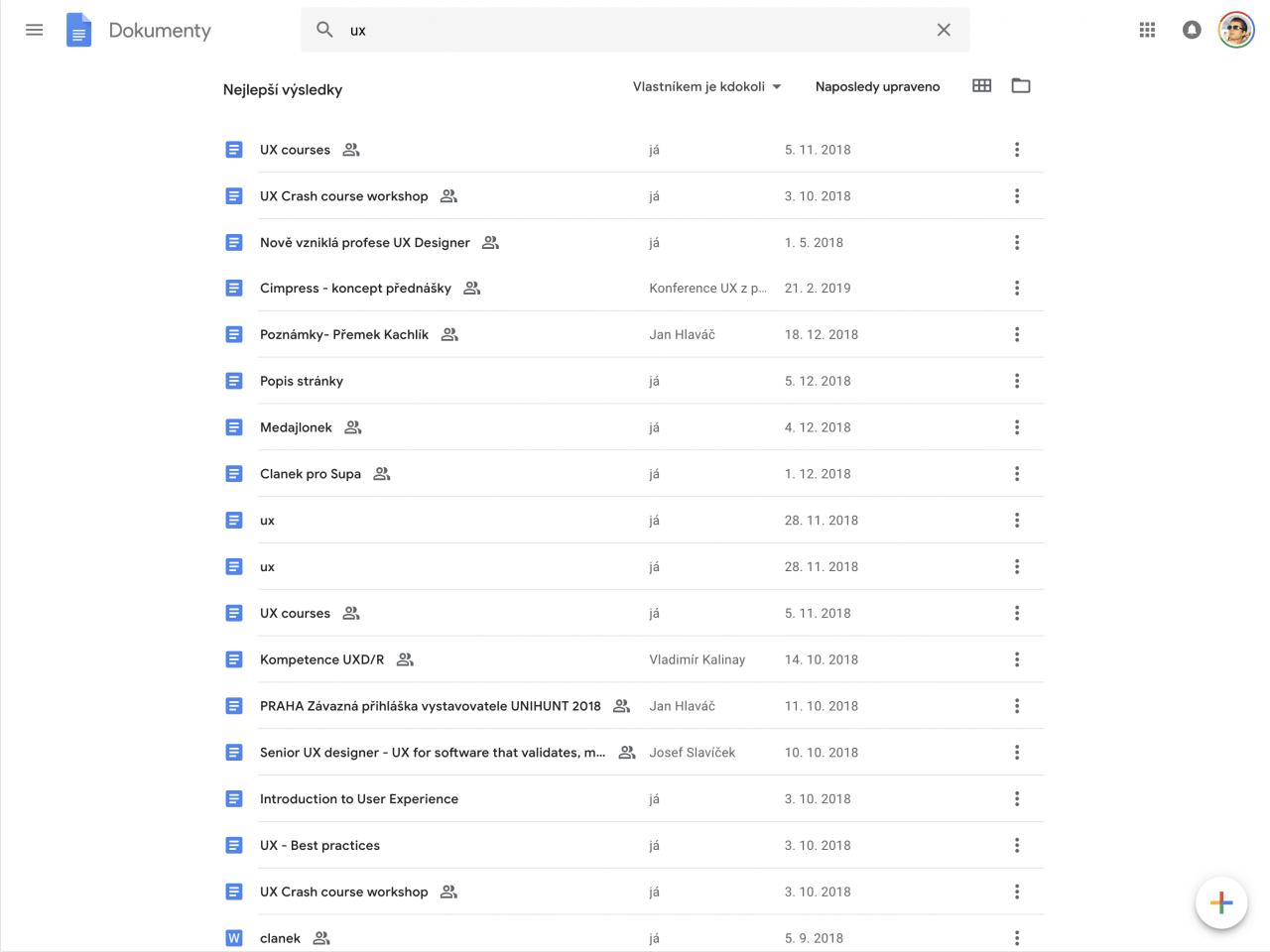 Jak vypadají výsledky vyhledávání na Google Docs.